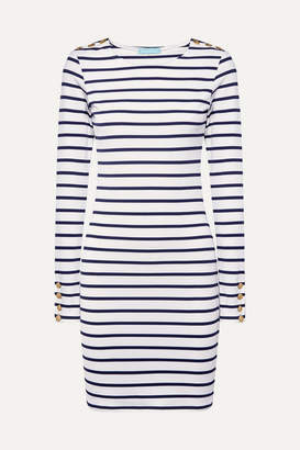 Melissa Odabash Agata Striped Stretch-jersey Mini Dress - Navy