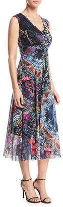 Fuzzi Multi Floral-Print V-Neck Dress