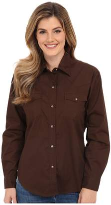 Roper L/S Solid Basic Snap Front Women's Long Sleeve Button Up