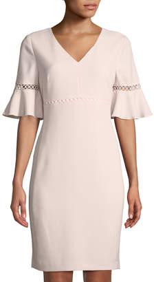 Karl Lagerfeld Paris Bell-Sleeve Circle-Crocheted V-Neck Sheath Dress