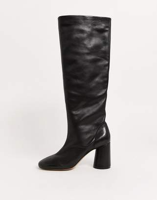 And other stories & leather round toe knee high boots in black