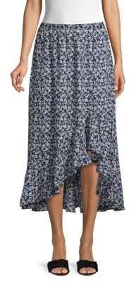 Max Studio Ruffle High-Low Floral Midi Skirt
