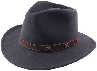 Classic Italy Men's Traveller II Wool Felt Fedora Hat Size 55 cm Black