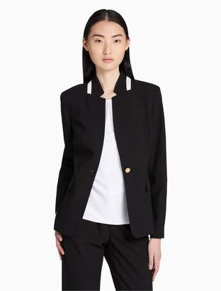Calvin Klein stripe collar single button jacket