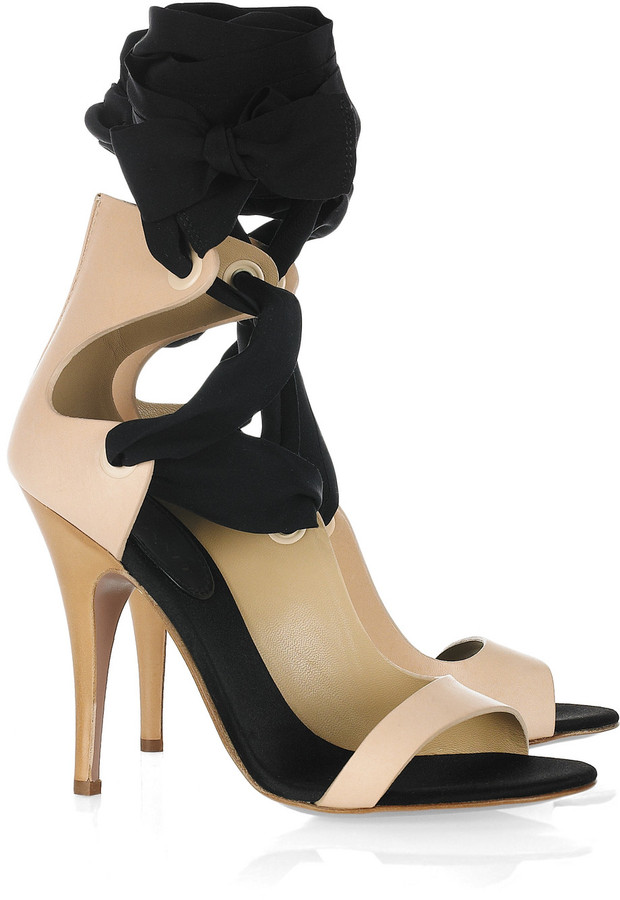 Vionnet Leather and silk ribbon sandals