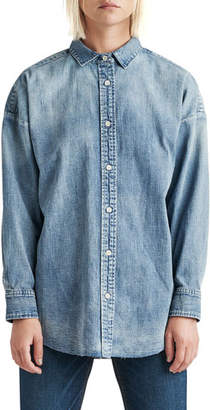 f2504edeadb Hudson The Button Up Raw-Edge Chambray Shirt