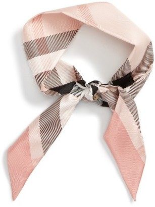 Women's Burberry Exploded Check Mulberry Silk Shortie Scarf $150 thestylecure.com