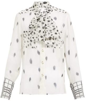 Burberry Pussy Bow Dalmatian Print Silk Blouse - Womens - Black White