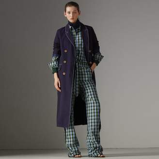 Burberry Topstitched Cotton Linen Double-breasted Coat