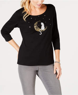 Karen Scott Cotton Embellished Foil-Print T-Shirt, Created for Macy's