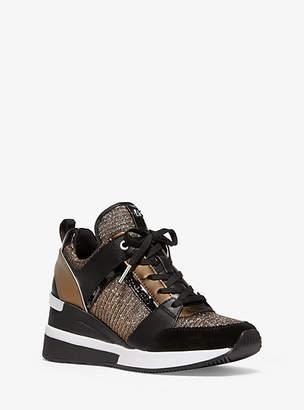 Michael Kors Georgie Chain-Mesh And Leather Trainer