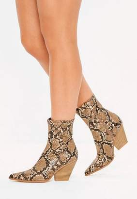 Missguided Tan Snake Print Curved Heel Western Boots