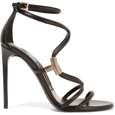 TOM FORD - Embellished Leather Sandals - Black