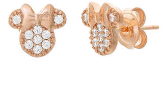 cb52f99e239fe Disney White Cubic Zirconia 14K Rose Gold Over Silver 8.9mm Minnie Mouse  Stud Earrings