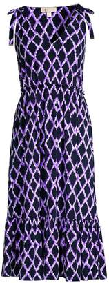 MICHAEL Michael Kors Ikat Geometric Flounce Midi Dress