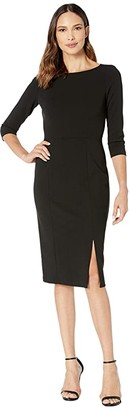 Donna Morgan Boat Neck 3/4 Sleeve Side Slit Crepe Dress