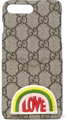Gucci Appliquéd Printed Coated-canvas Iphone 7 Plus Case - Brown