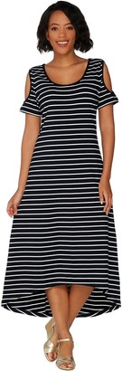 Isaac Mizrahi Live! Striped Cold Shoulder Hi-Low Maxi Dress