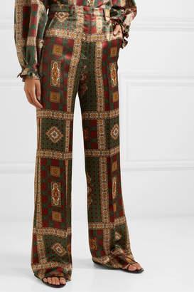 Etro Printed Twill Wide-leg Pants - Dark green