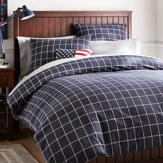 Pottery Barn Teen Boxter Plaid Duvet Cover, Twin/Twin XL, Navy/White