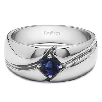 TwoBirch Sapphire Mounted in Sterling Silver Sapphire Bezel Set Twirl Style Men's Fashion Ring (0.09crt)