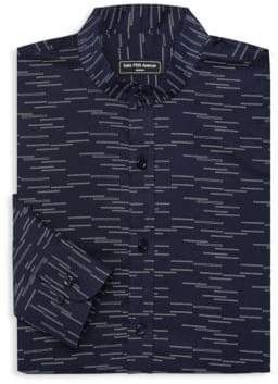 Saks Fifth Avenue MODERN Mandarin Collar Printed Woven Button-Down Shirt