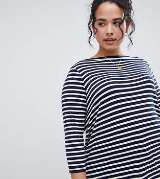 Asos DESIGN Curve slouchy long sleeve t-shirt in stripe