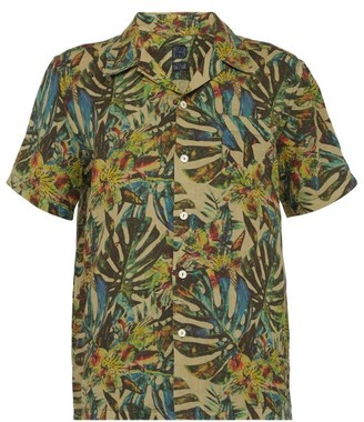 120% Lino Palm Leaf Print Linen Bowling Shirt - Mens - Green Multi