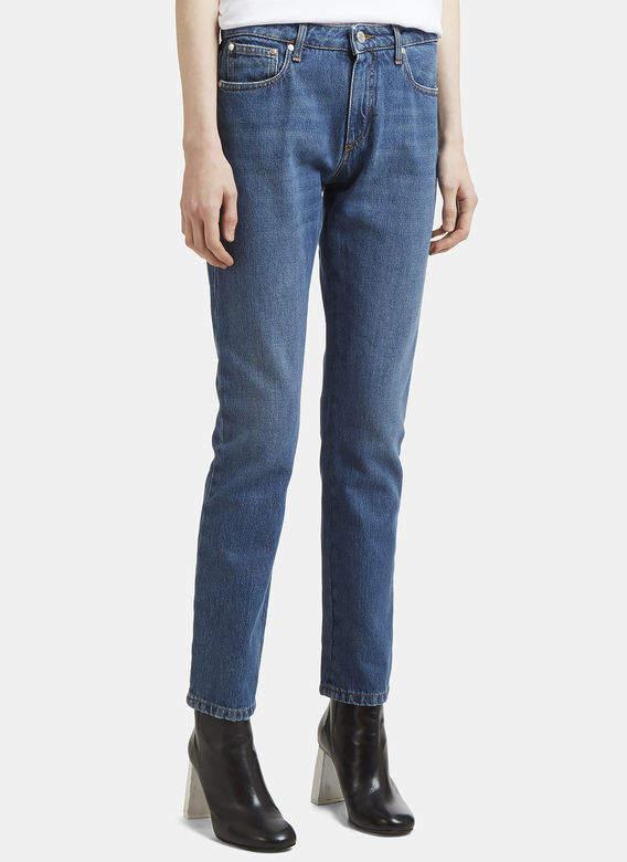 Logo Back Slim Fit Jeans in Blue