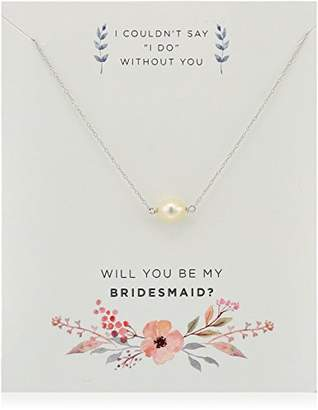 Sterling Silver Freshwater Cultured Pearl Be My Bridesmaid Gift on Sentiment Card Necklace