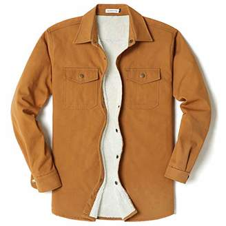 Men's Long Sleeve Thick Corduroy and Canvas Two Pocket Fleece-Lined Shirt JacketKhaki(Canvas)