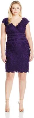 Tadashi Shoji Women's Plus Size Embroidered Lace Dress with Banded Waist