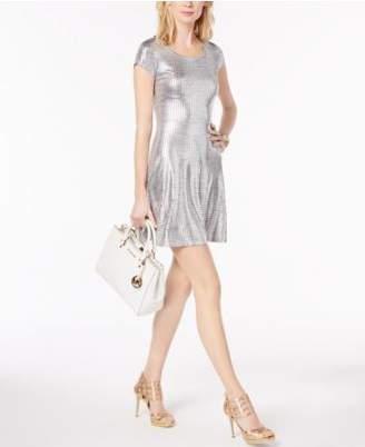 Michael Kors MICHAEL Metallic Fit & Flare Dress