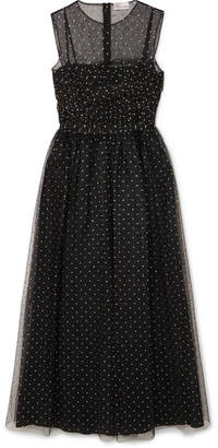 RED Valentino Metallic Polka-dot Point D'esprit Midi Dress - Black