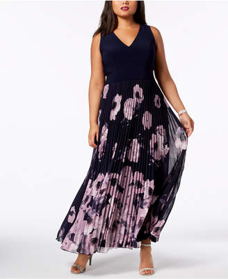 Xscape Evenings Plus Size Printed Pleated Gown