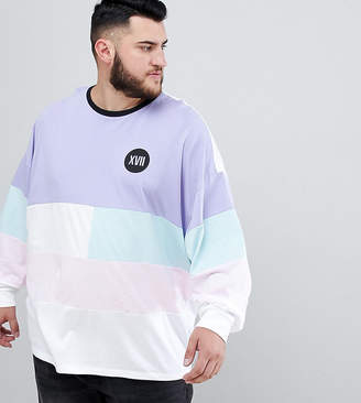 Asos DESIGN Plus oversized long sleeve t-shirt with pastel color block and numerals chest print