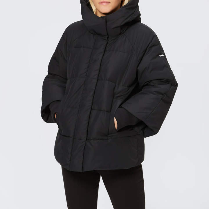 Women's Hooded Coat with Ribbed Sleeves