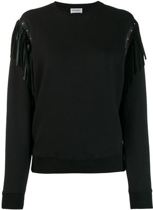 Saint Laurent leather fringing cotton sweatshirt