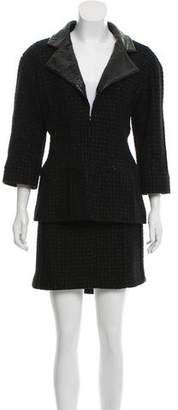 Chanel Leather-Trimmed Wool Skirt Suit
