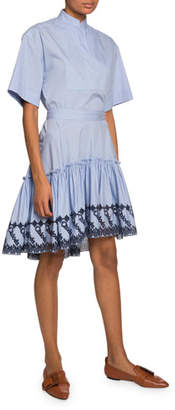Chloé High-Neck Eyelet Hem Dress