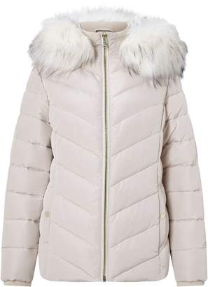 Miss Selfridge Fur Hooded Puffer Cream