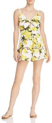 Aqua Tie-Front Lemon Print Romper - 100% Exclusive