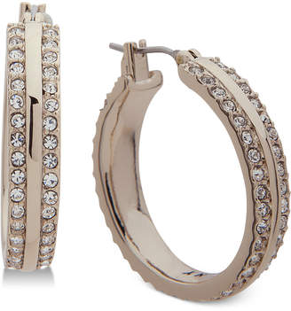 DKNY Gold-Tone Pave Hoop Earrings
