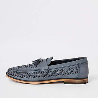 River Island Blue leather woven tassel front loafers