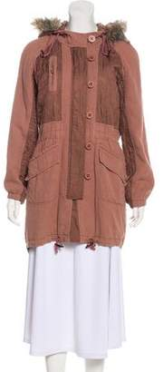 Rebecca Taylor Faux Fur-Trimmed Hooded Coat