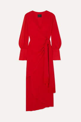 Mother of Pearl Net Sustain Velda Fringed Lyocell Wrap Dress - Red
