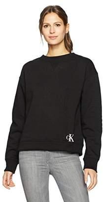 Calvin Klein Jeans Women's Cropped Crew Neck Sweatshirt with Monogram Logo