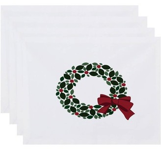 Holiday Essence Holly Wreath Floral Print Placemat