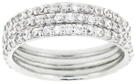 Target.com Use Only Sterling Silver Cubic Zirconium Stackable Eternity Ring Set - Silver