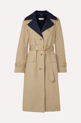 Tory Burch Ashby Two-tone Cotton-canvas Trench Coat - Beige